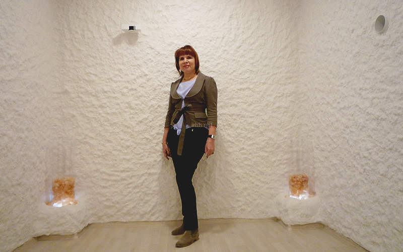Prof. Alina V. Chervinskaya, M.D., Ph.D. in Halomed salt room showroom