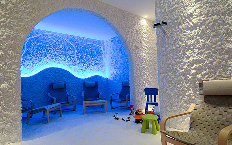 Halomed salt room divided into zones for adults and children